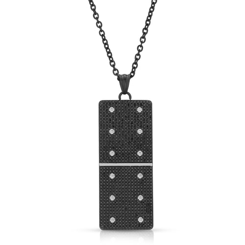 Large Black Micro Pave Domino With 12 Clear CZ - Domino effect jewelry