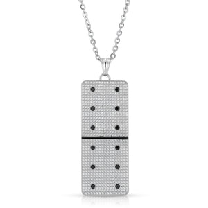 Large Clear Micro Pave Domino With 12 Black CZ - Domino effect jewelry