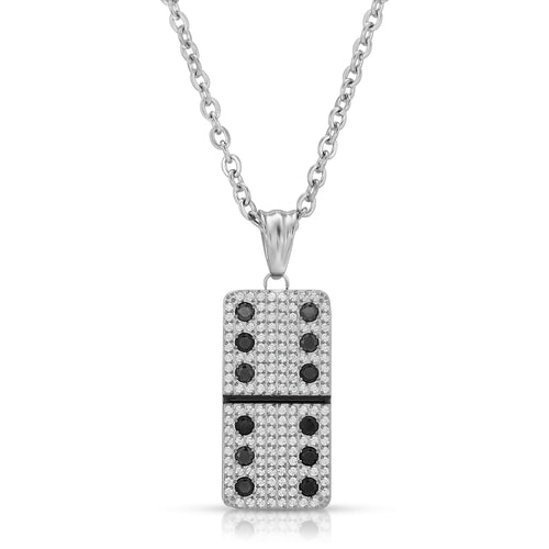Small Clear Micro Pave Domino With 12 Black CZ - Domino effect jewelry