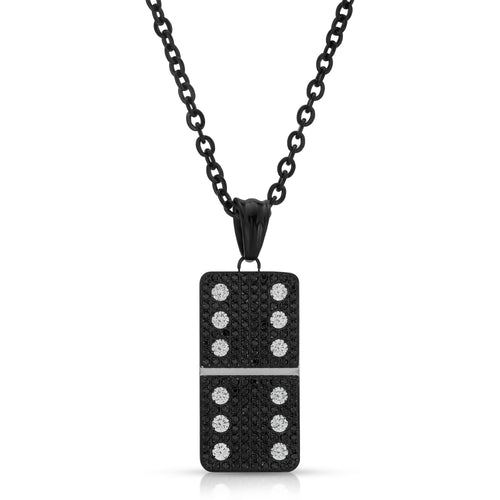 Small Black Micro Pave Domino With 12 Clear CZ - Domino effect jewelry