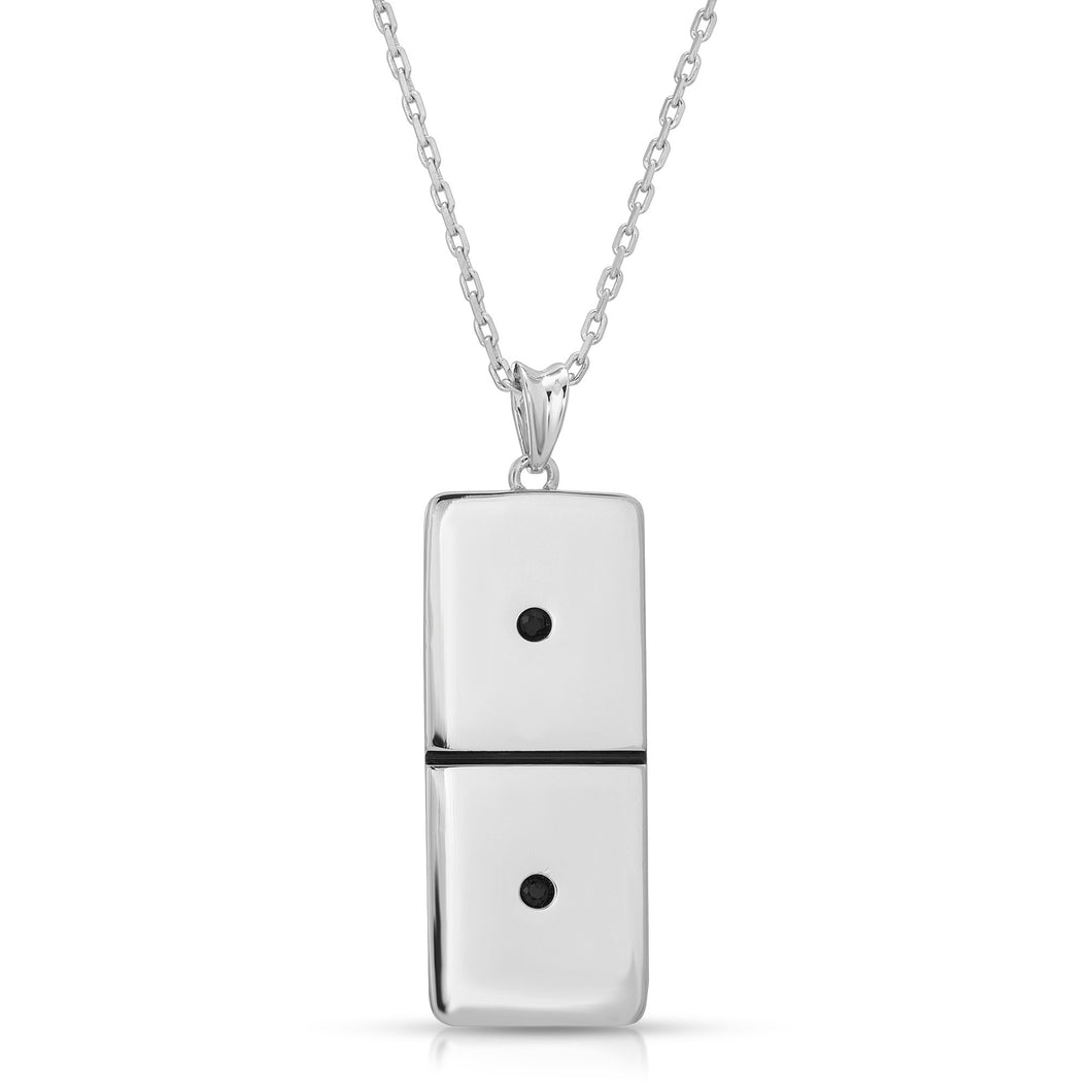 Small Silver  Domino With 2 Black Diamonds - Domino effect jewelry