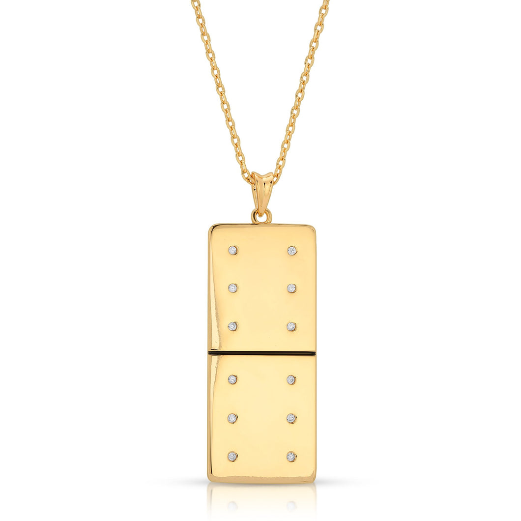 Gold Plated Large Domino With 12 Clear CZ - Domino effect jewelry