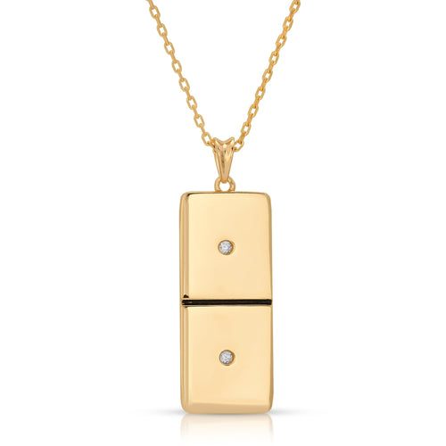 Small Gold Domino With 2 White Diamonds - Domino effect jewelry