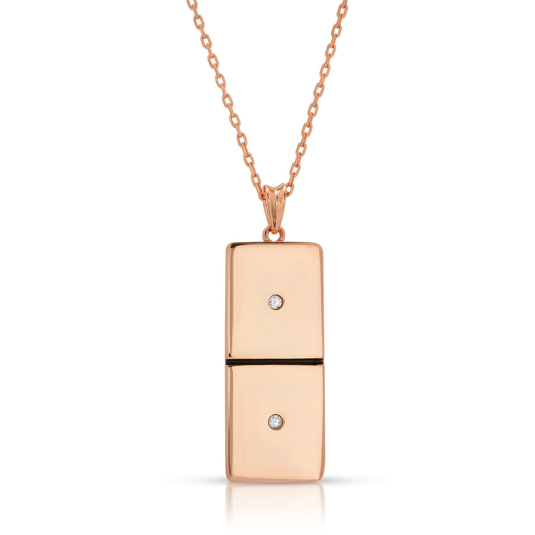 Small Rose Gold Domino With 2 Clear Diamonds - Domino effect jewelry