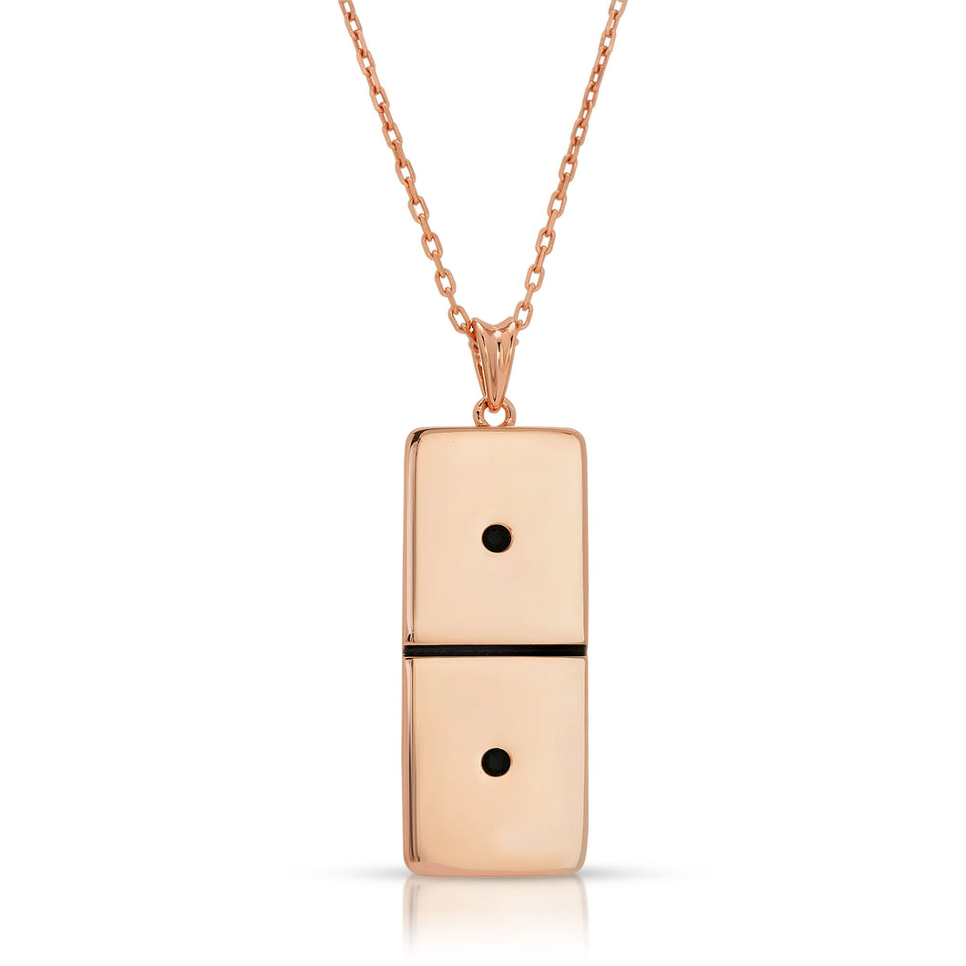 Small Rose Gold Domino With 2 Black Diamonds - Domino effect jewelry