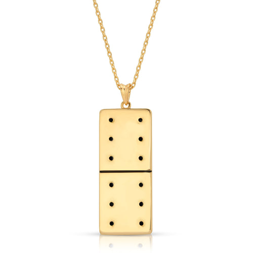 Gold Plated Large Domino With 12 Black CZ - Domino effect jewelry