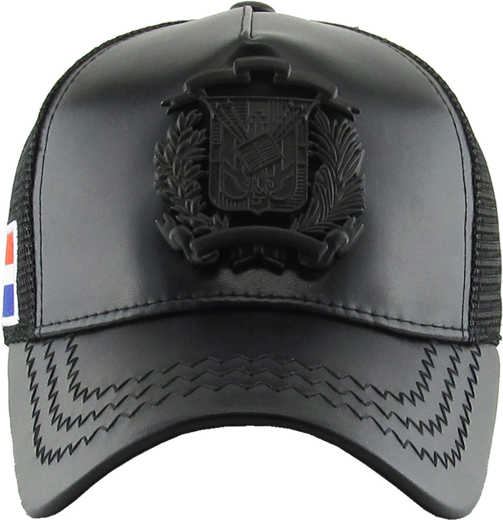 Dominican Republic Emblem PU Leather Meshback Snapback