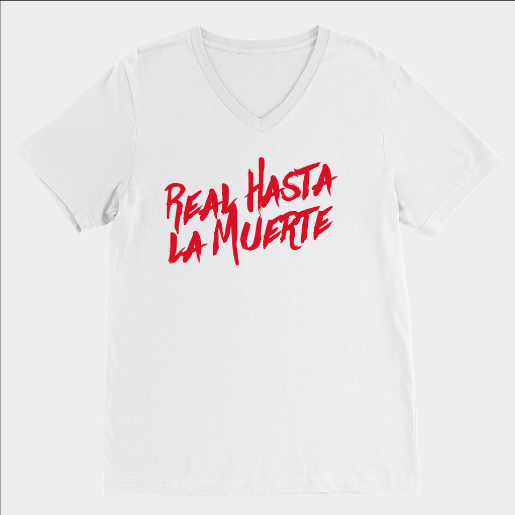 Real Hasta La Muerte White & Red V NECK T-SHIRT