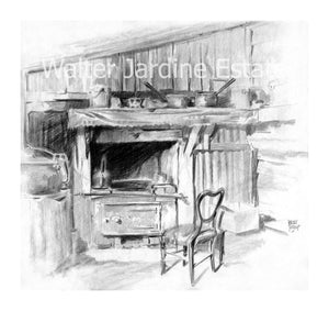 Walter Jardine pencil drawing of country kitchen
