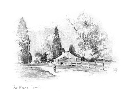 Walter Jardine pencil illustration 'the home trail'