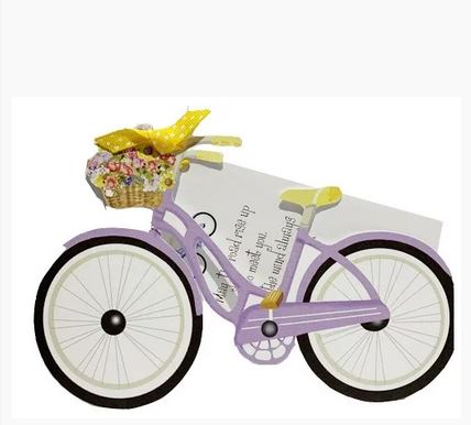 Bicycle with flowers with glitter Die Cut Greeting Card -