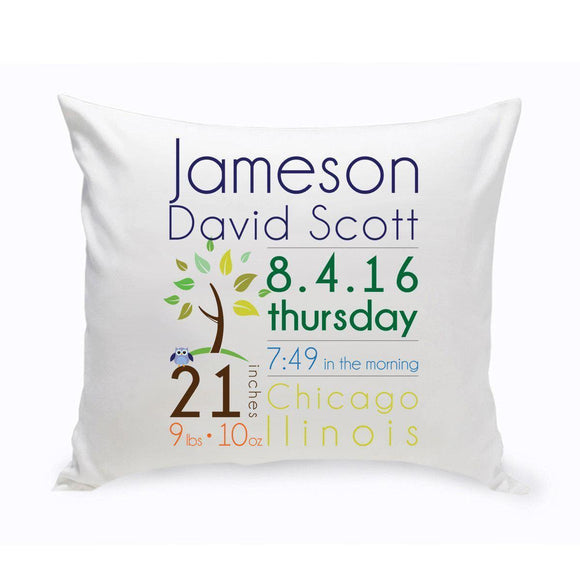Personalized Baby Boy Birth Announcement Throw Pillow