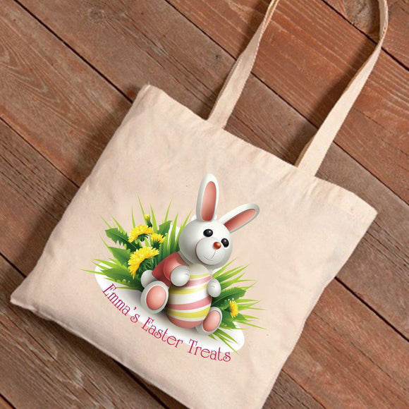 Personalized Easter Canvas Bag - Bunny Bouquet