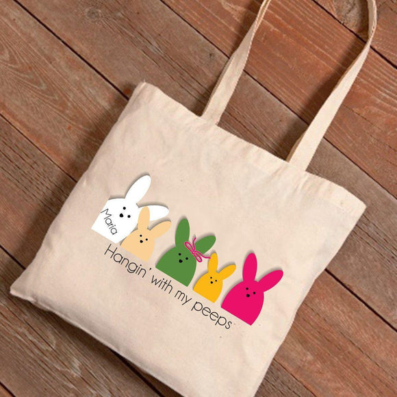Personalized Easter Canvas Bag - Bunnies