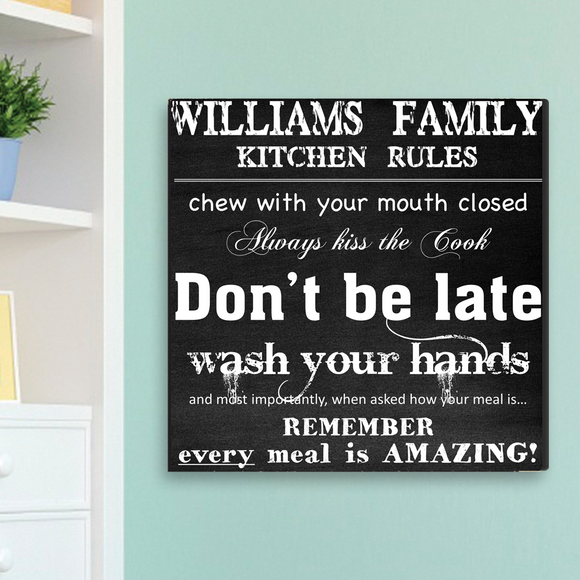 Personalized Family Kitchen Rules Canvas Sign