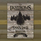 Personalized Weathered Wood Welcome to the Lake Canvas Sign