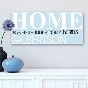 Personalized Signs Where Our Story Begins Wrapped Canvas Print