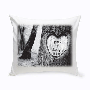 Personalized Everlasting Love Tree Carving Throw Pillow
