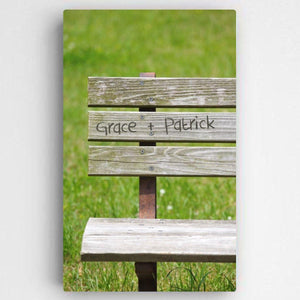 Personalized Park Bench Romance Canvas Sign