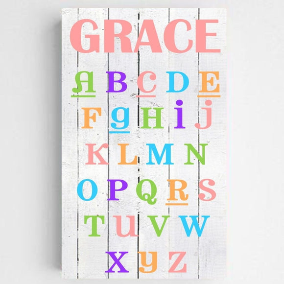 Personalized Colorful ABC Kids Canvas Sign