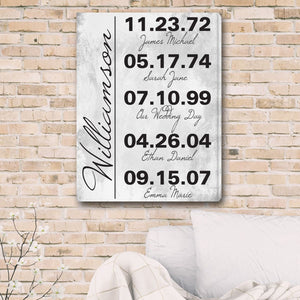 Memorable Dates in Life Personalized Canvas Print