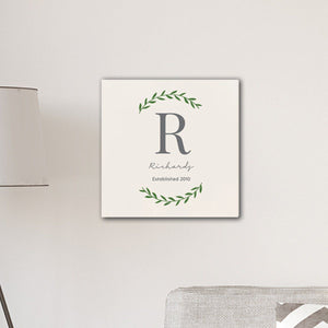 "Personalized Family Initial Vine 18"" x 18"" Canvas Signs"