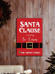 "Personalized Santa Is Coming To Town Canvas - 14"" x 18"" - Christmas Wall Art"
