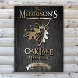 Personalized Midnight Wood Gain Welcome to the Lake Canvas Sign