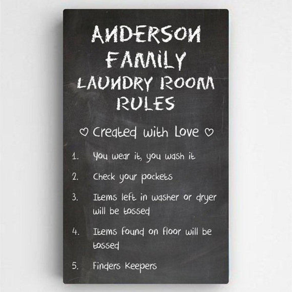Personalized Laundry Room Rules Canvas Sign