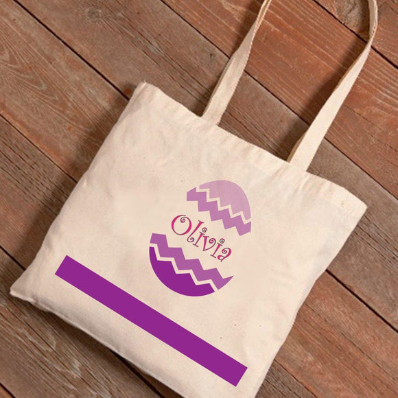 Personalized Easter Canvas Bag - Chevron Egg