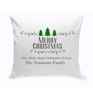 Personalized Christmas Trees Family Throw Pillow