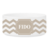 Personalized Large Dog Bowl - Cheerful Chevron