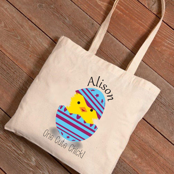 Personalized Easter Canvas Bag - Cute Chick