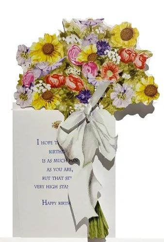 English Garden Bouquet die cut card with glitter