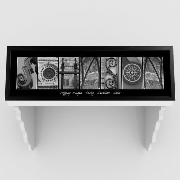 Personalized Family Name Signs - Architectural Alphabet - Black and White - Urban