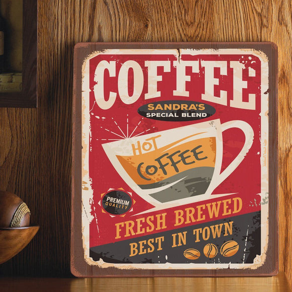Personalized Wood Art Sign - Hot Coffee