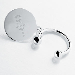 Personalized Keychain - Monogram - Silver - Round Key Ring