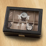 Monogrammed Watch Box - Black Leather - Holds 10 Watches