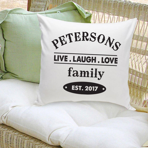 Personalized Live Laugh Love Family Name Throw Pillow