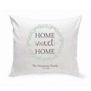 Personalized Home Sweet Home Throw Pillow - Green Wreath