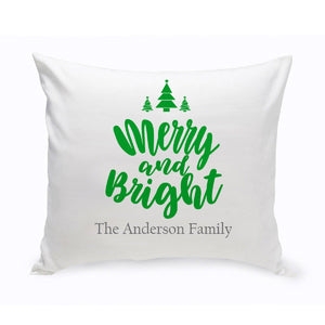 Personalized Merry & Bright Throw Pillow