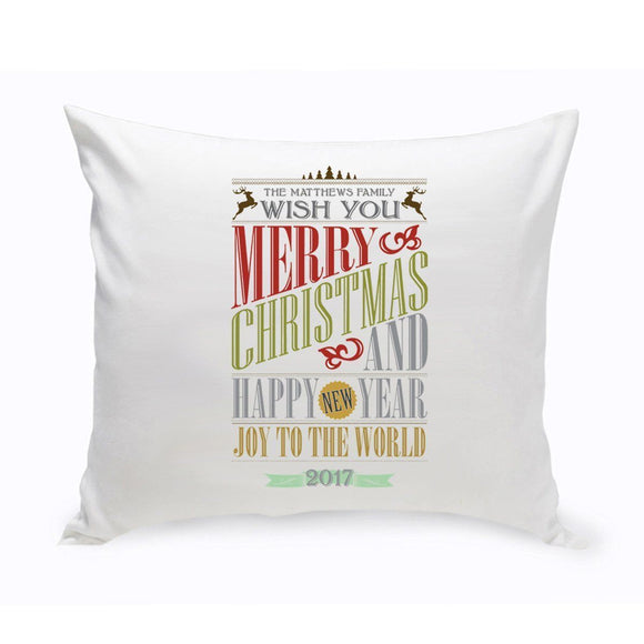 Personalized Christmas Words Throw Pillow
