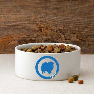 Personalized Circle of Love Silhouette Small Dog Bowl