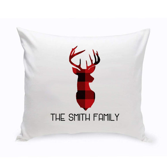 Personalized Red & Black Plaid Deer Throw Pillow