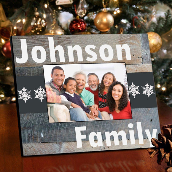 Personalized Family Snowflakes Picture Frame - Classic Snowflakes