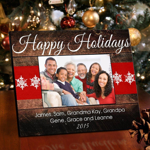 Personalized Holiday Picture Frame - Red Ribbon