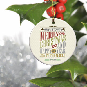 Personalized Vintage Christmas Words Ornament