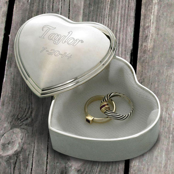 Personalized Keepsake Box - Trinket Box - Engraved - Heart - Silver Plated