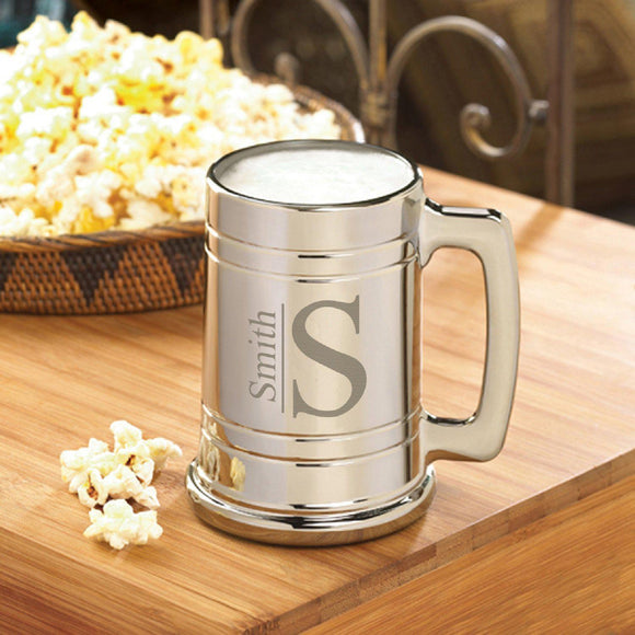 Personalized Beer Mugs - Gunmetal - Monogram - 16 oz.