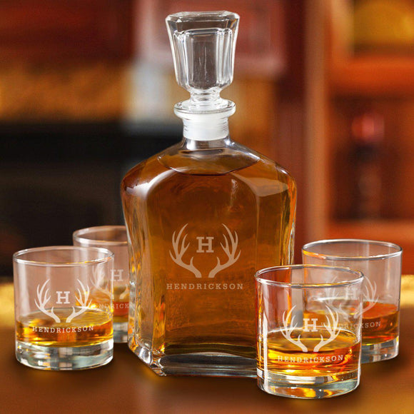 Personalized Decanter set with 4 Low Ball Glasses